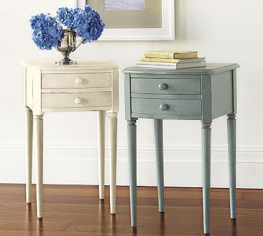 I really like this table and it is small so maybe I could put my bed against the narrow wall with two of these. Fingers crossed. And it is affordable and comes in blue! Charlotte Bedside Table #potterybarn