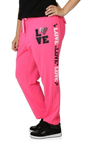 Deb Shops Plus Size #Sweatpants with #Love Screen and Writing Down Both Legs $14.92