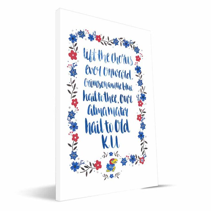 Show your Kansas Jayhawks fandom with this vibrant Hand-Painted Song canvas print! A popular verse from the fight song or alma mater is framed with whimsical flowers all in KU colors. This print is ca