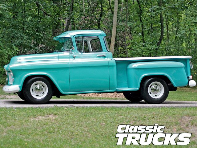 classic pick up trucks | 1956 Chevy Pickup Truck Side View Photo 7