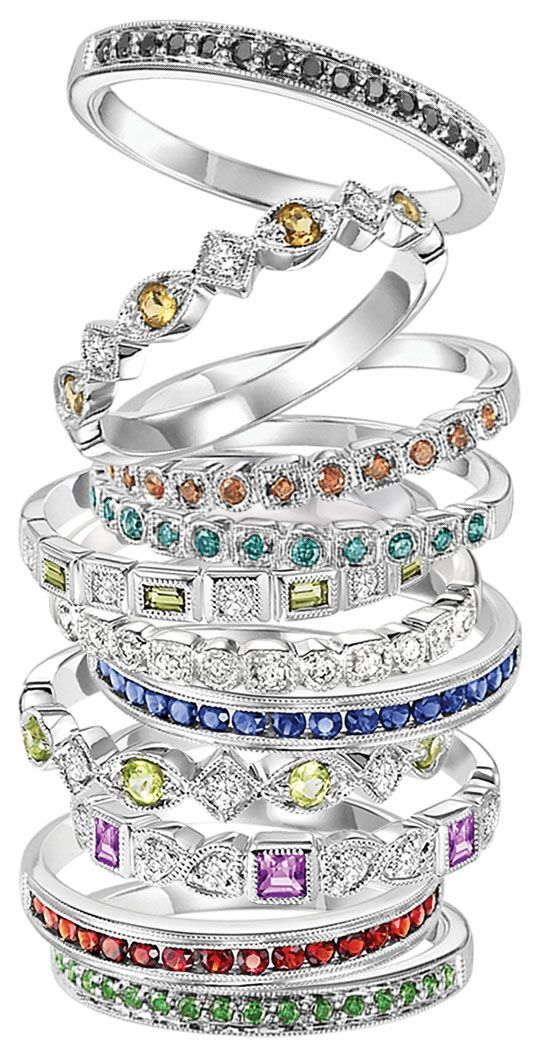 Stackable birthstone rings ... Thin band, small diamonds... Like the red & blue ones in pic