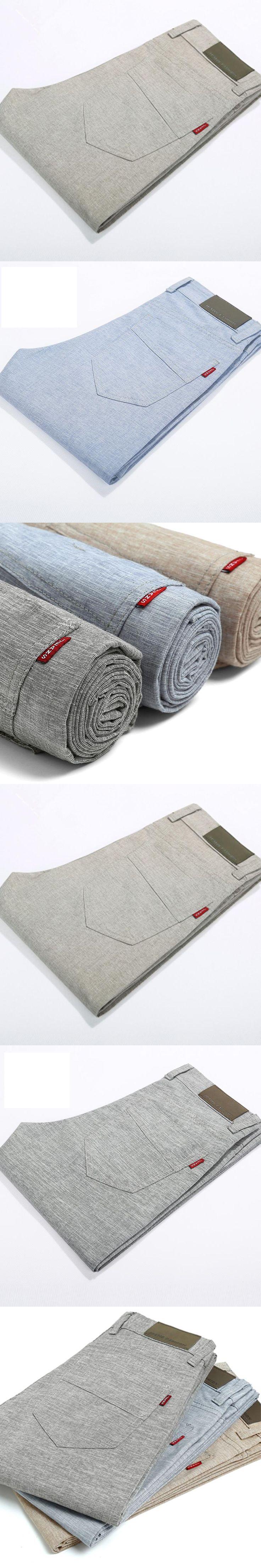 2017 high quality Men's Linen Pants men Casual summer breathing thin trousers Men's male Straight long Slim Fit pants Plus Size