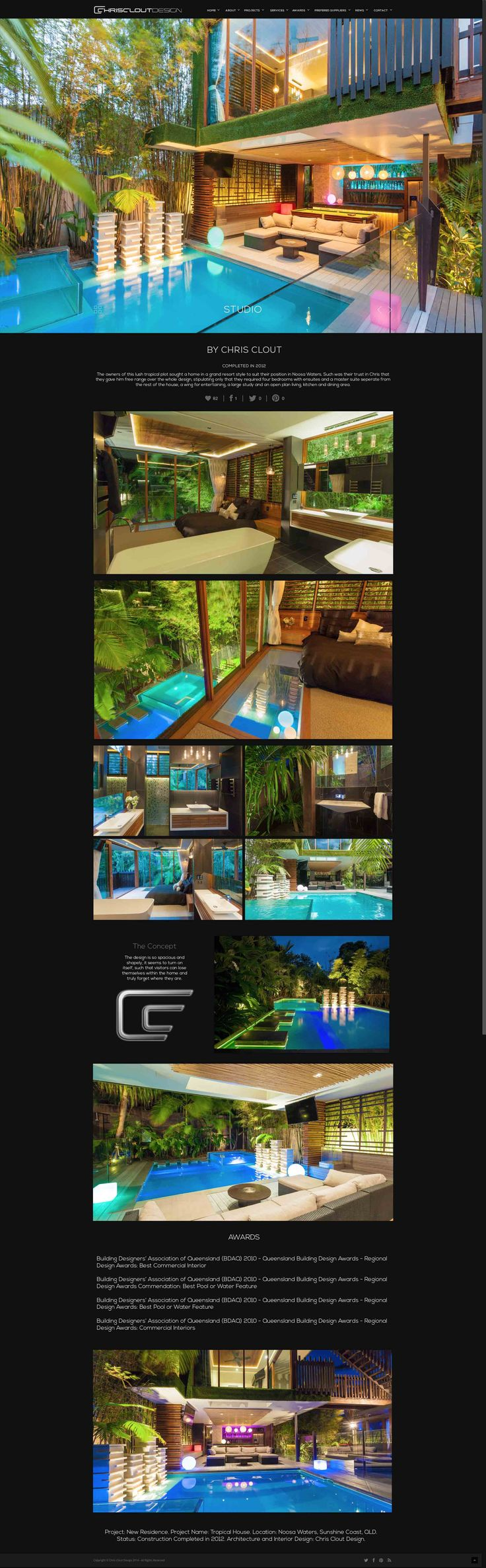 Chris Clout Design House Luxury Modern Resort Living Lighting Bathroom Interiors Pool Tropical