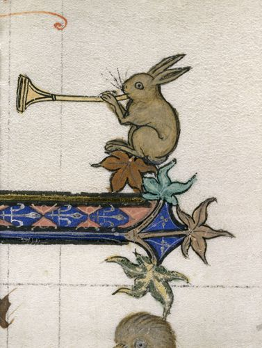 Rabbit on manuscript, playing trumpet. Petrus Comestor, Historia scholastica ('Ashridge Petrus Comestor'), England ca. 1283-1300 (British Library, Royal 3 D VI, fol. 234r)
