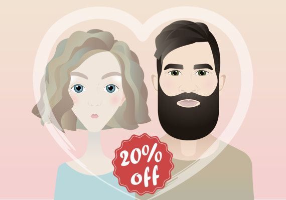 Valentines Day gifft Couple custom digital by SimpleFaceStore