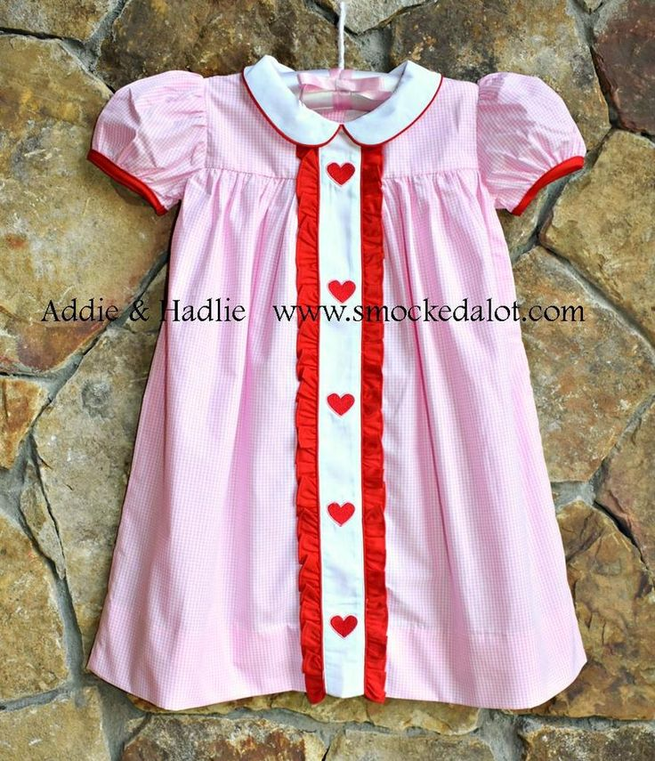 Valentine's Day Heart Ruffled Dress with collar- Pink Gingham