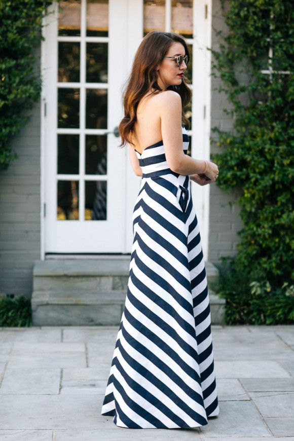 Shoshanna Blue & White Striped Long Dress - Dallas Wardrobe