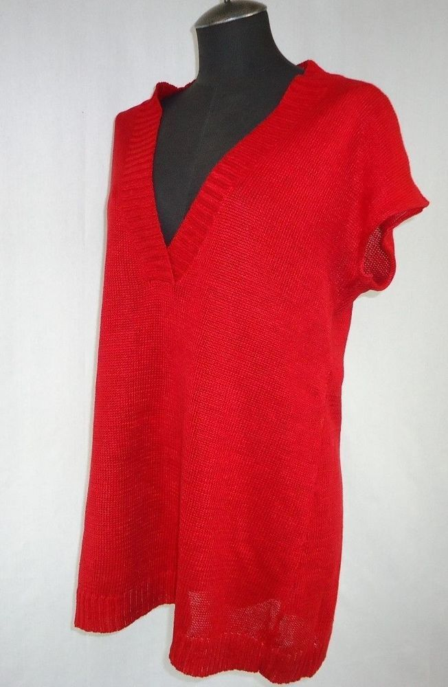 EILEEN FISHER Sweater Size M Deep Red Knit Cami Sleeveless long Vest Work Casual #EileenFisher