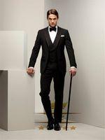 Custom Made ternos de casamento para homens pico lapela do noivo smoking dos homens ternos com calças pretas WY1321