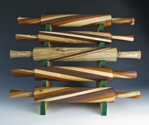 Wood turned rolling pins.