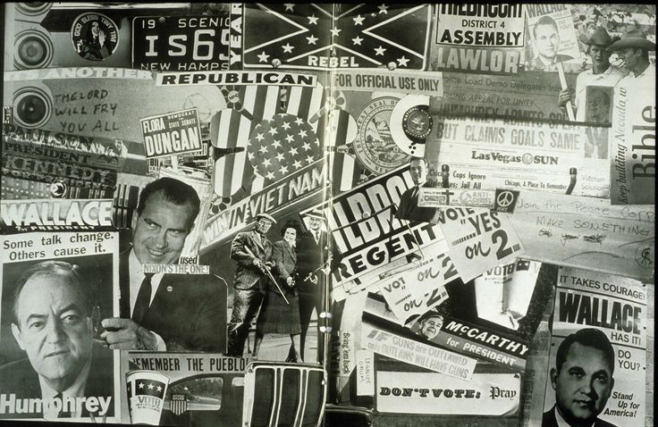 A political collage page from a yearbook for UNLV, circa 1968.  The collage features campaign materials from the 1968 U.S. presidential election, along with newspapers pages, parodies, and bumper stickers from tat era.  Image is part of the UNLV Libraries photo digital collection.