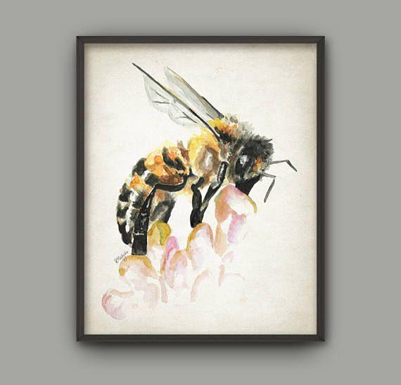 Honey Bee Watercolor Art Print  Worker Bee  Drone Bee