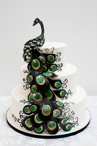 peacock cake on mustard and sage