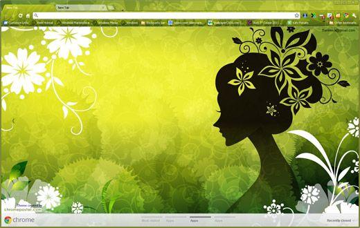 Vector girl in green chrome theme
