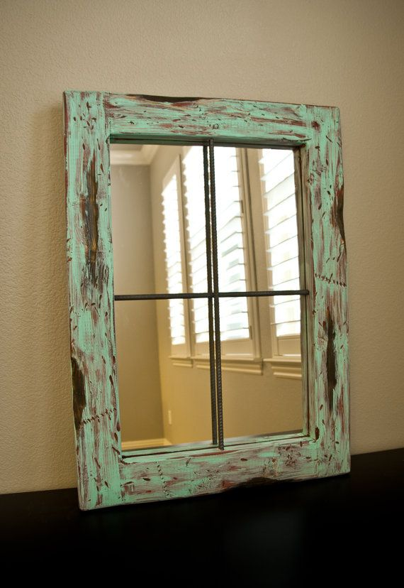 Rustic Mirror Distressed Faux Window Vintage Green