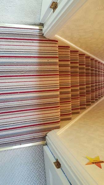 Client: Private Residence In East London Brief: To supply & install striped stair carpet to stairs