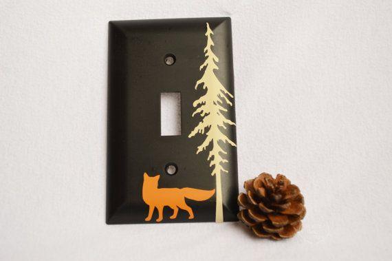 Fox room decor -- fox light switch cover, pine tree decor, rustic nursery, rustic home decor, chalkboard , fox nursery, fox decor, redwood