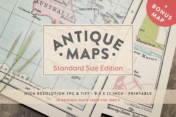 Antique Maps 8.5x11in - Vol.01 by Greta Ivy on @creativemarket