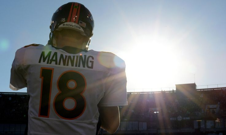 December 29, 2013; Oakland, CA, USA; Denver Broncos quarterback Peyton Manning (18) watches from the sideline during the third quarter against the Oakland Raiders at O.co Coliseum. The Broncos defeated the Raiders 34-14. Mandatory Credit: Kyle Terada-USA TODAY Sports