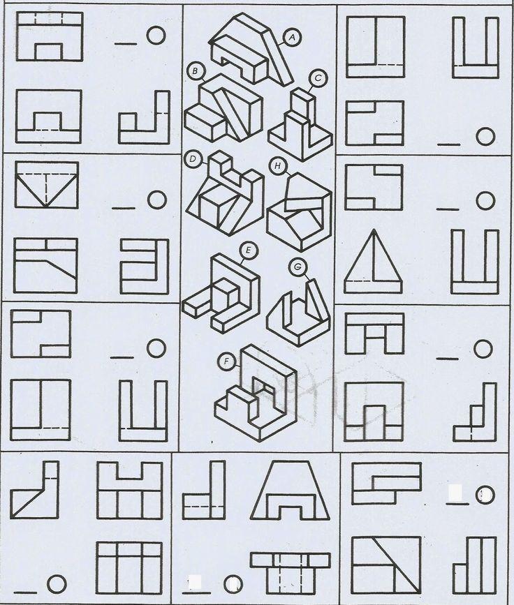 Primer bloque de ejercicios:  Título: Vistas y piezas prismáticas.  Instrucciones:  Relaciona las piezas con sus respectivas vistas escribi...