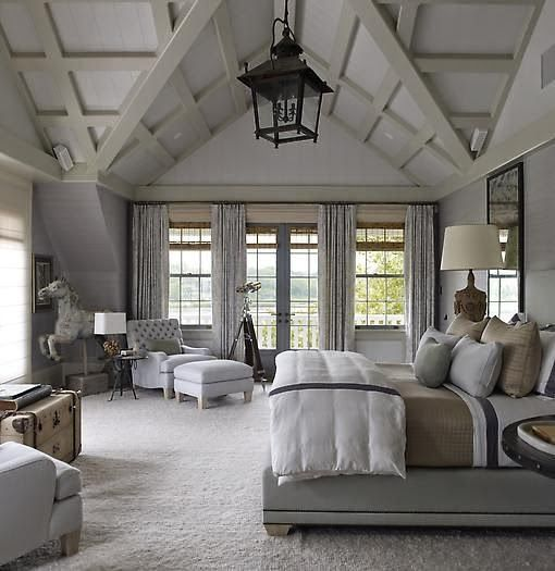Rustic Farmhouse Bedroom In Grey Layered Mineral Tones I Dont Like The