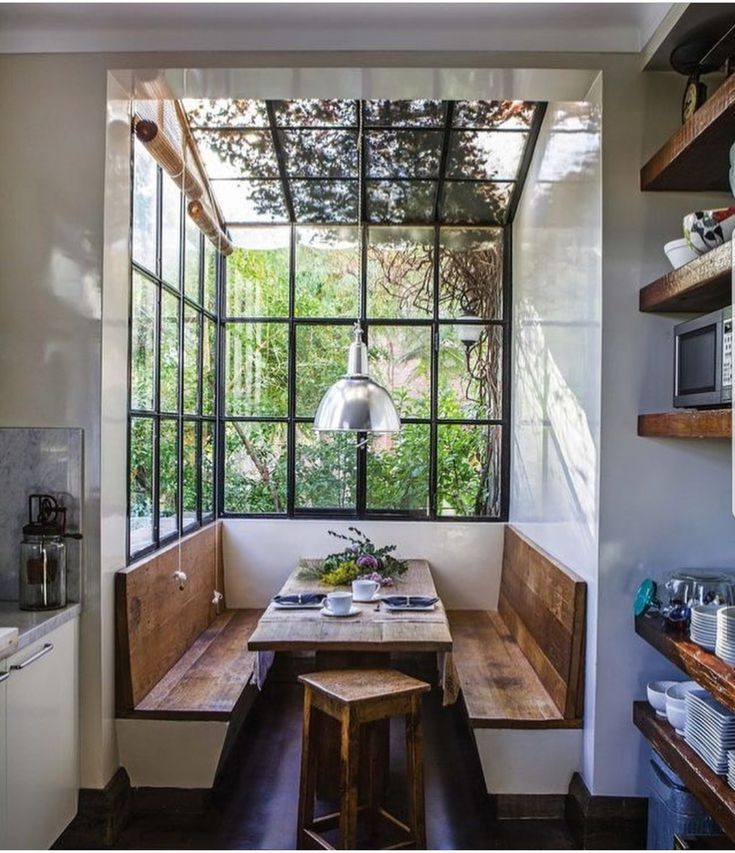 Home Decorating Ideas Cozy Minimal, modern, contemporary dining nook in kitchen. Home Decor Inspiration hom…