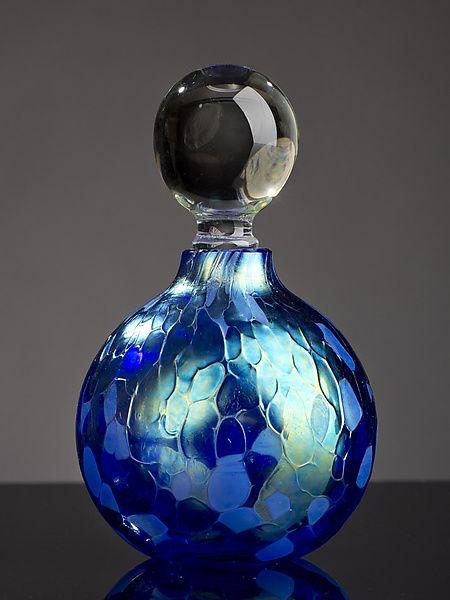 Iridescent Blue Sphere Perfume Bottle: Bryce Dimitruk: Art Glass Perfume Bottle - Artful Home