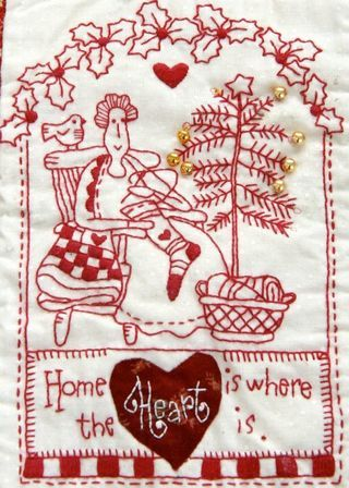 "Free Red Brolly Redwork pattern:: ""The Wish"" Patchwork Christmas Quilt  These are wonderful !"