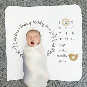 Personalised Baby Age Botanical Blanket Set
