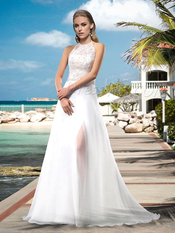 $133.49 Dresswe.comサプライ品セクシーなAラインウェディングドレス ホルターネック アップリケ ビーズ スイープ 床長