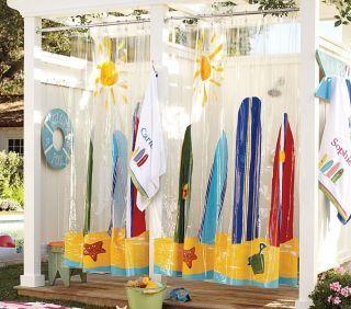 Pottery Bard Kids Surfboard Shower Curtain Lifeguard Wall Art