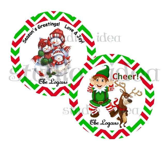"""Custom Cute Christmas 2.5"""" Printable Tags-Snowman Family & Elf -Reindeer Wishes Personalized Tags, DIY (You Print) 2.5"""" tags-Digital File by StudioIdea on Etsy"""