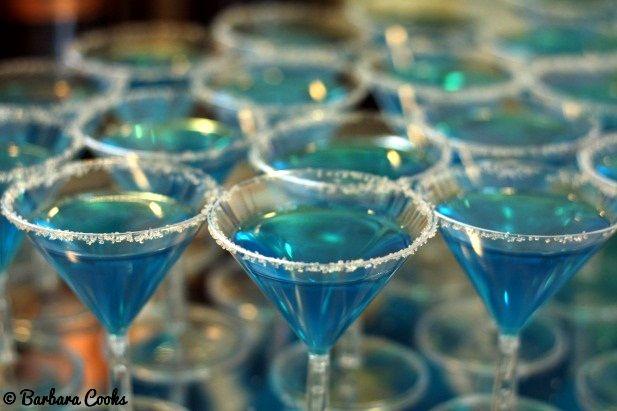 Blue Jello Shots In Mini Martini Glasses For A Tiffany