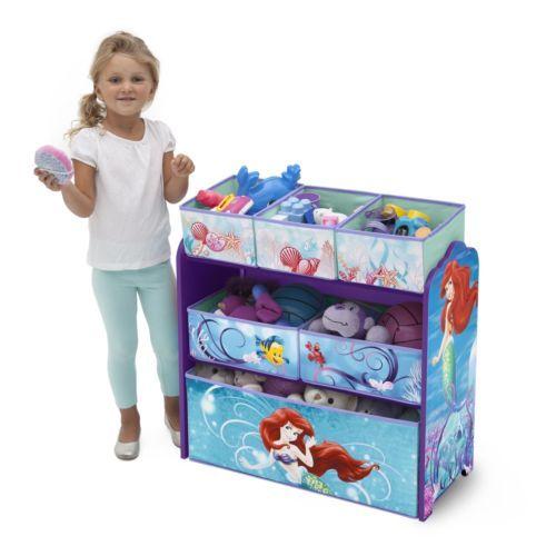 Multi Bin Toy Organizer Disney Little Mermaid Children Play Room Furniture Box #ToyOrganizer #ToyBin #Storage  #DisneyPrincess #Playroom #Girls