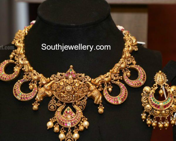 Antique Gold Necklace and Earrings Set photo