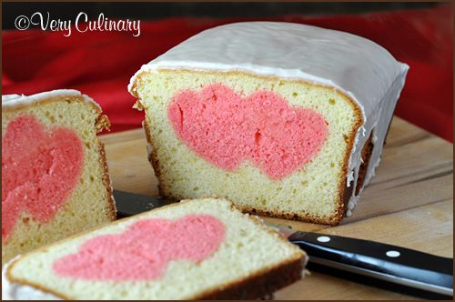 Valentine's Day Peek-A-Boo Pound Cake from Very Culinary