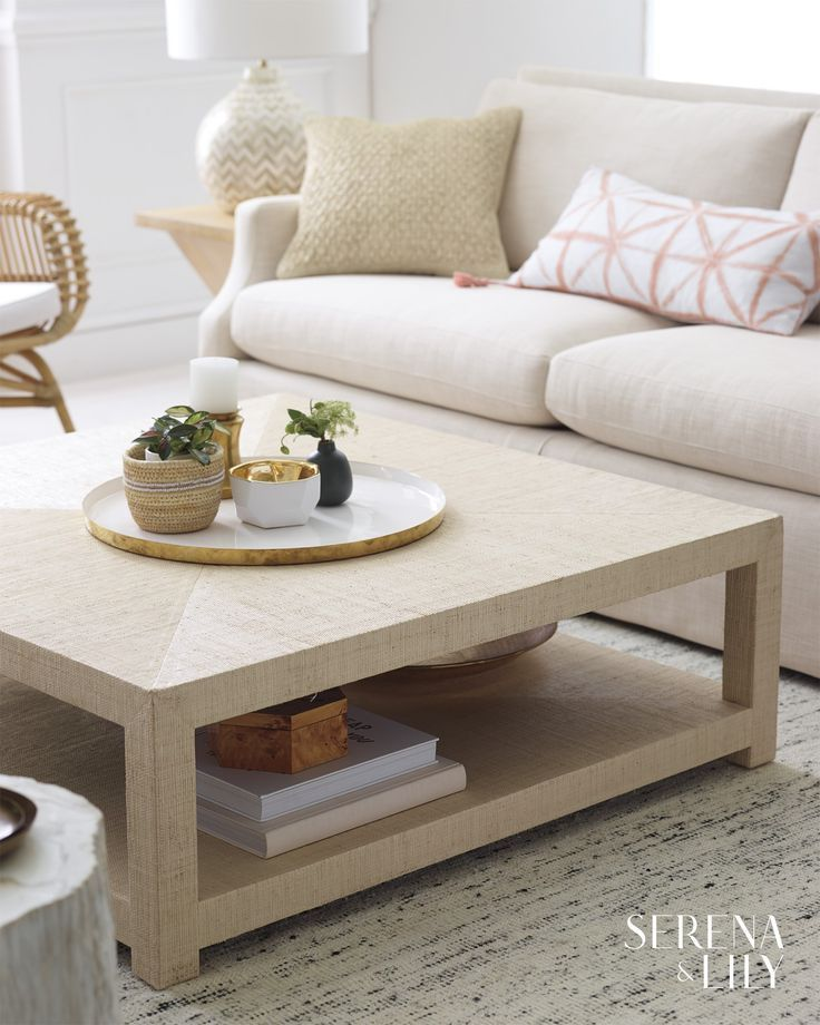 With Two Display Levels This Raffia Wrapped Coffee Table Lets You