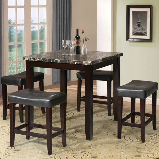 Acme Furniture Ainsley 5 Piece Counter Height Faux Marble Dining Table Set