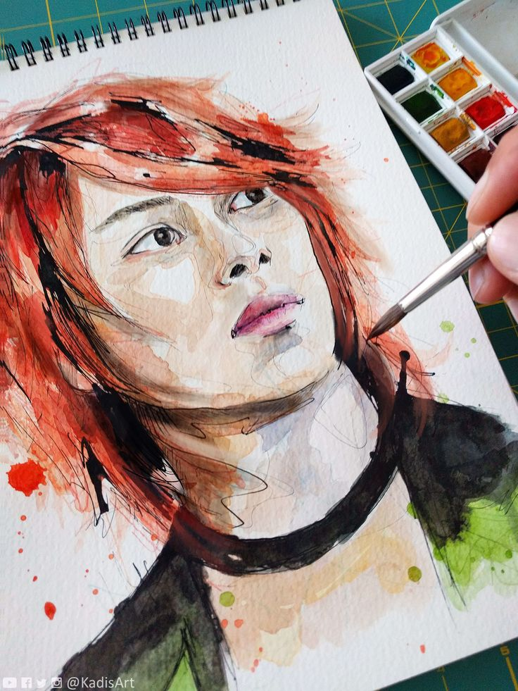 Watercolour Portrait painting of Kim Heechul for sale looks like modern oil painting I start with rough sketching or pencil drawing then, use Wacom and Photoshop my favorite art painting software to paint it on canvas texture background  Don't search for oil paintings for sale or original oil paintings, Digital painting is easier to get and affordable because I don't use oil painting equipment I convert photo to portrait or picture to portrait painting handmade, traditional style, but...
