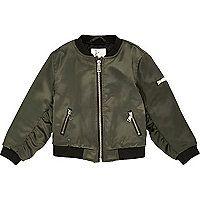 Mini girls khaki satin bomber jacket - baby girls coats / jackets - mini girls - girls