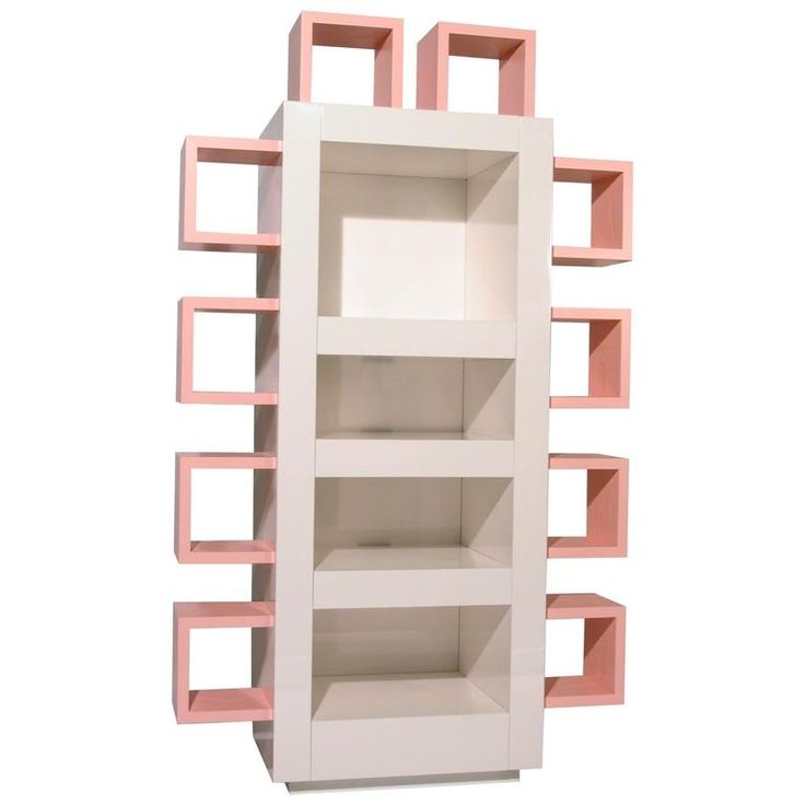 Contemporary Italian Lacquered White and Pink Bookshelf, Memphis Postdesign…