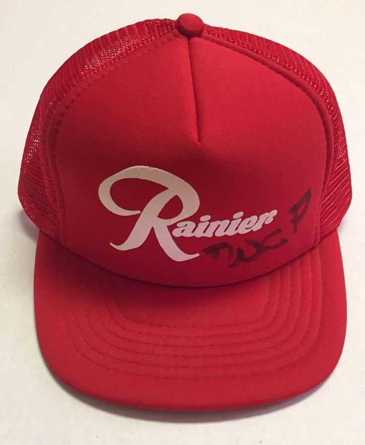 Vtg Rainier Brewing Company Trucker Hat Seattle Washington WA Beer Alcohol Red #Sportcap #Trucker