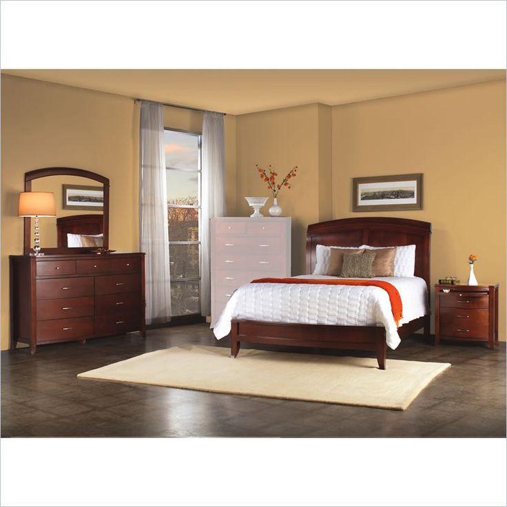 Modus Furniture Brighton Wood Low Profile Sleigh Bed 4 Piece Bedroom Set In  Cinnamon