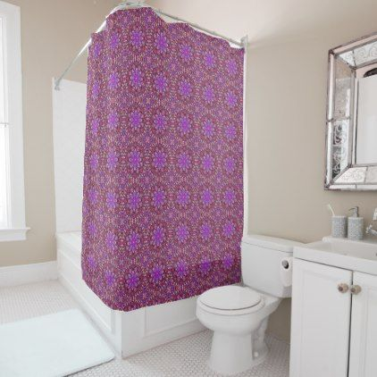 Tile Style Pattern  Vintage Purple Shower Curtain - shower curtains home decor custom idea personalize bathroom