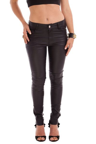 VIKA WAX BLACK JEANS STYLE DETAILS:  Black jeans with a matte finish Mid-waist height  FIT DETAILS:  Comfortable fit Standard Australian sizing  STYLING:  Take black denim to the next step with a glorious matte finish. Wear them with a simple white t-shirt and boots or dress them up with some strappy heels!