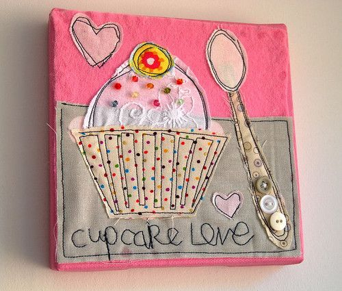 """Not a cupcake fan myself, but I'm pinning this one to remember the multiple stitching """"scribble"""" technique for quilting.  Cool..."""