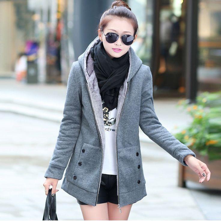 2015 Autumn Winter Jackets Women Casual Hoodies Coat Cashmere Sportswear Coat Hooded Fleece Warm Long Jackets Plus Size