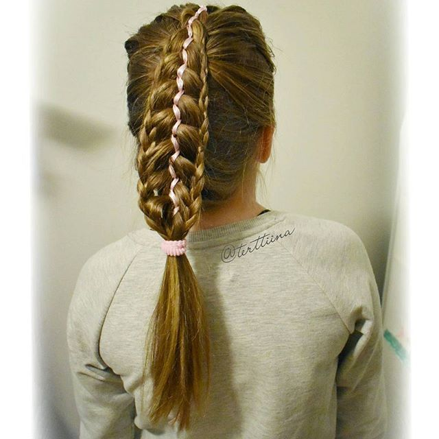 Feathered five strand dutch braid with a ribbon and small lace braids on sides!  #featheredbraid
