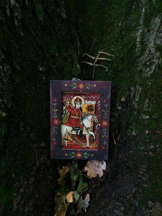 Saint George folk reverse  glass icon  handpainted