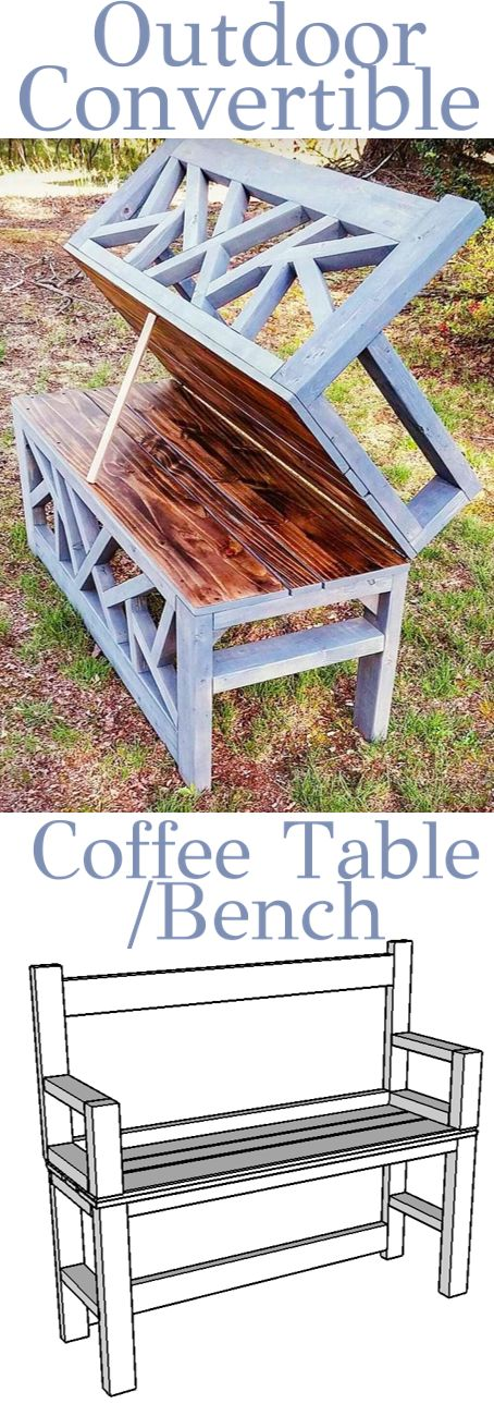 DIY Outdoor Bench Coffee Table - Convertible - Woodworking Plans